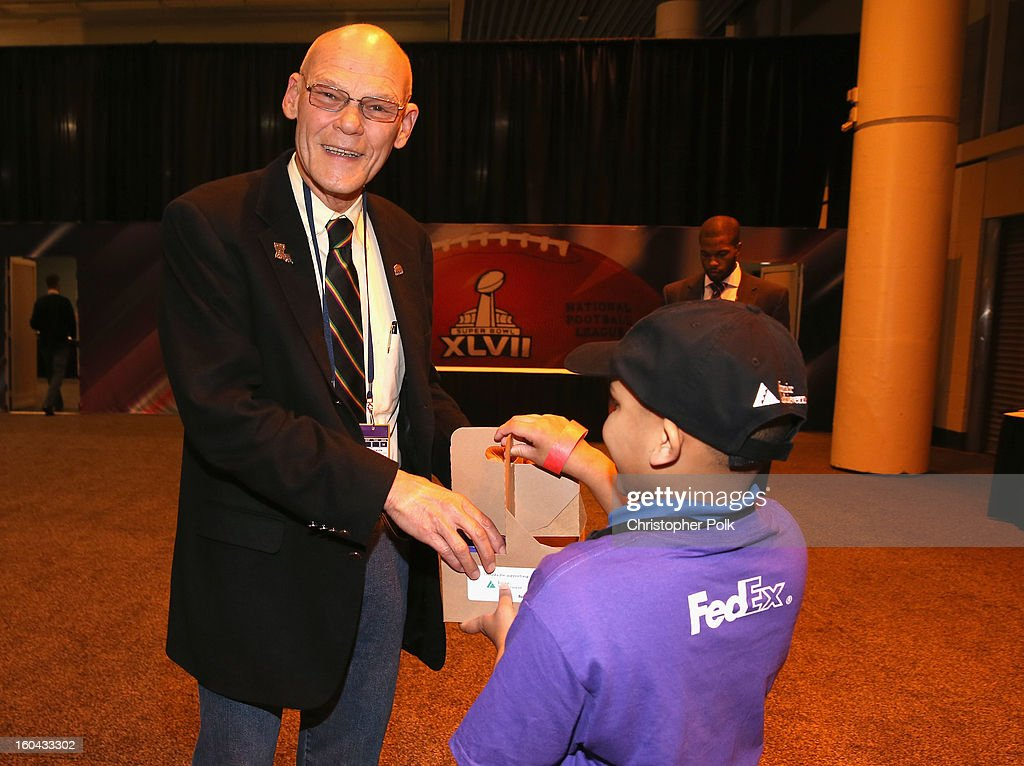 James Carville attends the FedEx lemonade stand with Junior Achievement students in the Super Bowl XLVII Media Center, one of the most highly-trafficked venues of the Super Bowl city. The event celebrated the 10th season of the FedEx Air & Ground NFL Players of the Year awards and allowed the students to run their first business.