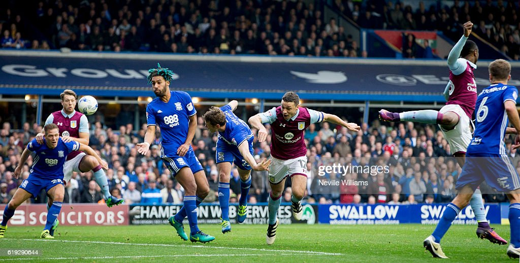 James Chester of Aston Villa during the Sky Bet Championship match between Birmingham City and Aston Villa at St Andrews on October 30, 2016 in Birmingham, England.