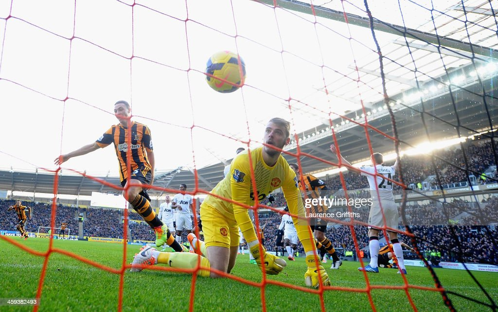 James Chester of Hull City scores the opening goal past David De Gea of Manchester United during the Barclays Premier League match between Hull City and Manchester United at KC Stadium on December 26, 2013 in Hull, England.