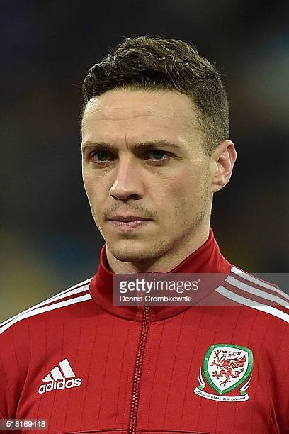 James Chester of Wales looks on as the national anthems are played prior to kickoff during the International Friendly match between Ukraine and Wales...