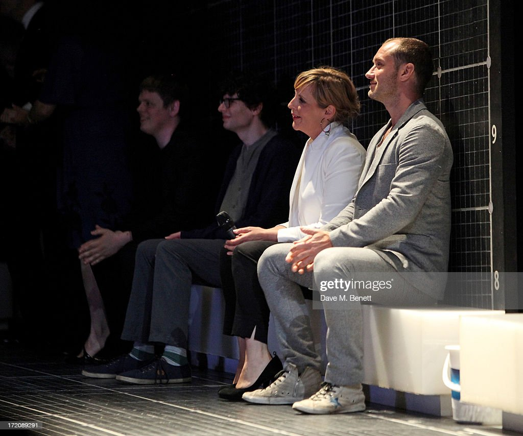 James Christy, Simon Amstell, Mel Giedroyc and Jude Law attend 'A Curious Night at the Theatre', a charity gala evening to raise funds for Ambitious about Autism and The National Autistic Society, at The Apollo Theatre on July 1, 2013 in London, England.