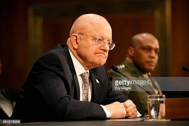 James Clapper Director of National Intelligence and Lt Gen Vincent Stuart Director of the Defense Intelligence Agency testify during a Senate Armed...