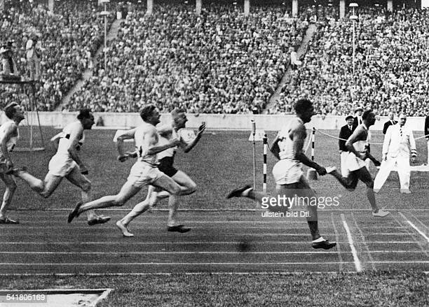 James Cleveland Owens American athlete 1936 Olympic Summer Games in Berlin Owens reaches the finishing line first in the 100 meters sprint August 3...