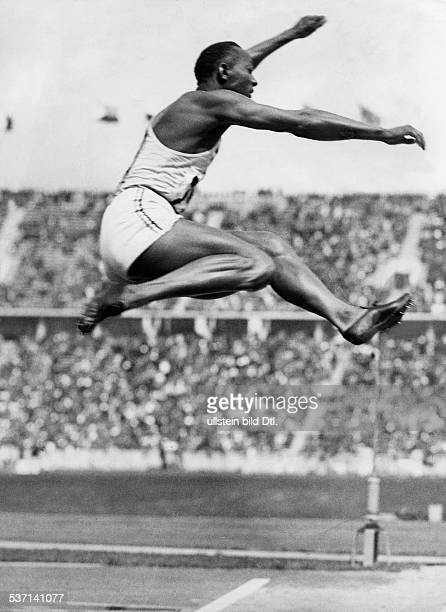 James Cleveland OWENS American athlete quadruple Olympic champion in Berlin 1936 Olympic Summer Games in Berlin 1936 Owens wins the gold medal and...