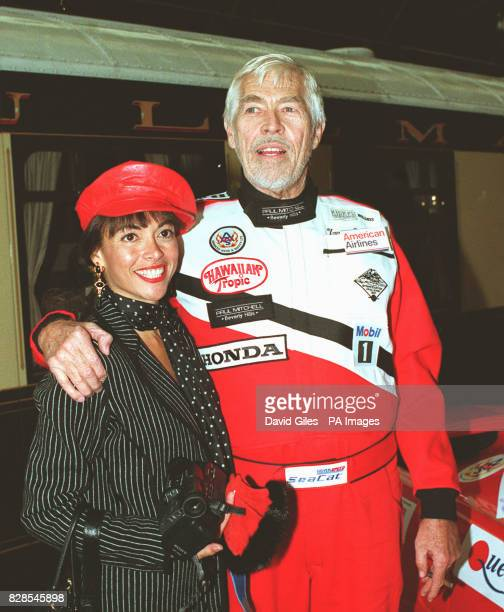 James Coburn hugs his girlfriend Paula Murad before setting off for the start of the 1991 Venice Simplon Orient Express Challenge at London's...
