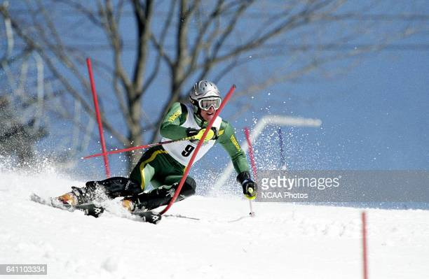 James Cochran of the University of Vermont races to a second place finish in the men's slalom during the Division 1 Men's Skiing Championship held at...