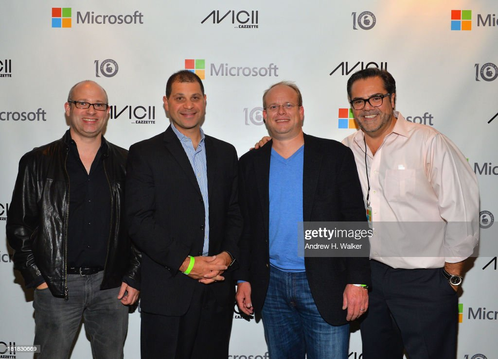 James Colborn, Jahn Wolland, Jorge Gutierrez (R) and guest attend Microsoft Live! at Advertising Week featuring music from Avicii with Cazzette at Roseland Ballroom on September 25, 2013 in New York City.