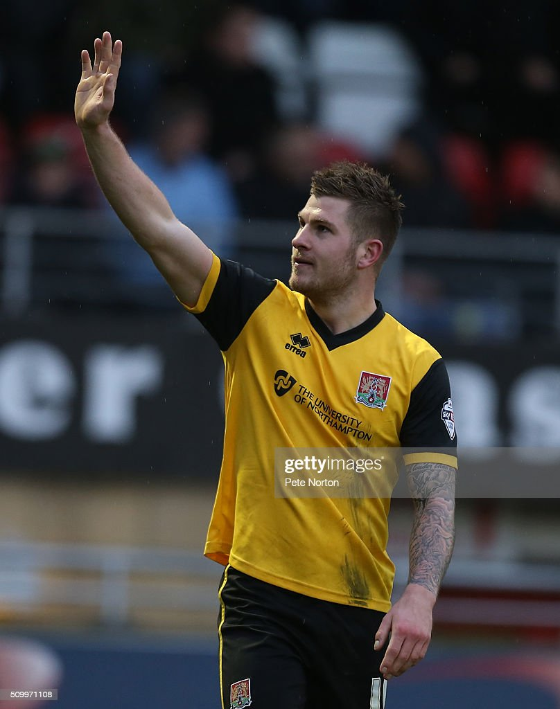 James Collins of Northampton Town celebrates after scoring his fist and his sides third goal during the Sky Bet League Two match between Leyton Orient and Northampton Town at Matchroom Stadium on February 13, 2016 in London, England.