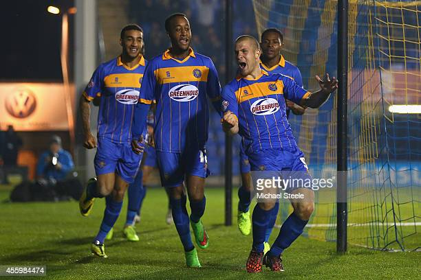 James Collins of Shrewsbury Town celebrates scoring the opening goal during the Capital One Cup Third Round match between Shrewsbury Town and Norwich...
