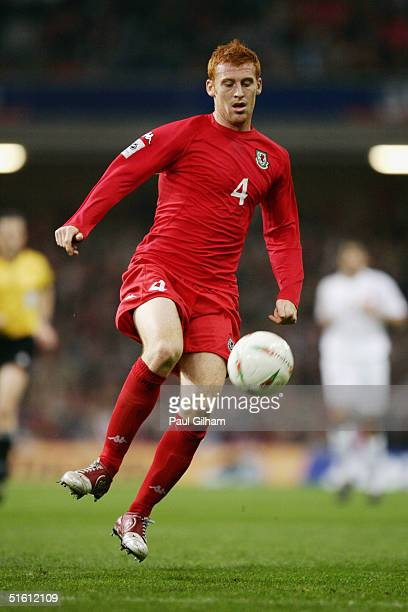James Collins of Wales in action during the group six World Cup qualifying match between Wales and Poland at the Millennium Stadium on October 13...