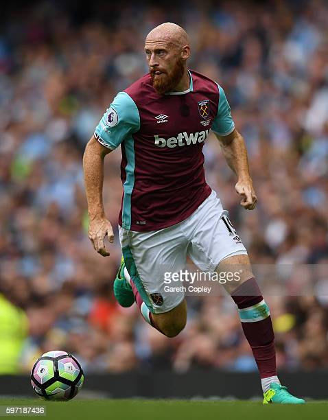James Collins of West Ham during the Premier League match between Manchester City and West Ham at Etihad Stadium on August 28 2016 in Manchester...
