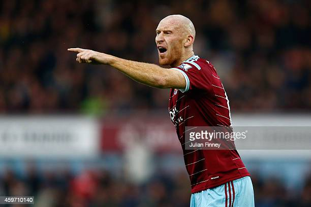 James collins of West Ham gives instructions during the Barclays Premier League match between West Ham United and Newcastle United at Boleyn Ground...