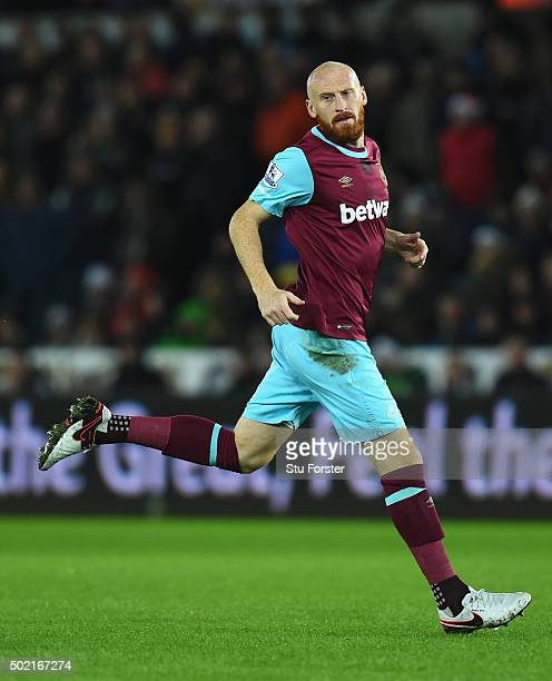 James Collins of West Ham in action during the Barclays Premier League match between Swansea City and West Ham United at the Liberty Stadium on...