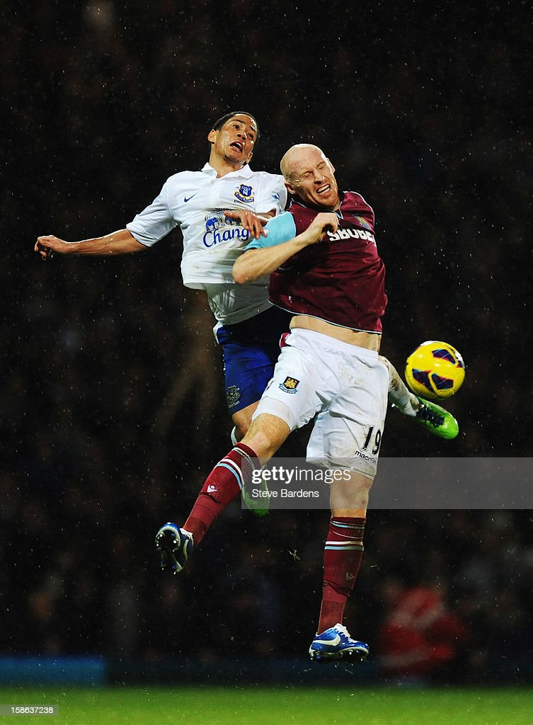 <a gi-track='captionPersonalityLinkClicked' href=/galleries/search?phrase=James+Collins+-+Welsh+Soccer+Player&family=editorial&specificpeople=15167252 ng-click='$event.stopPropagation()'>James Collins</a> (R) of West Ham United and <a gi-track='captionPersonalityLinkClicked' href=/galleries/search?phrase=Steven+Pienaar&family=editorial&specificpeople=787271 ng-click='$event.stopPropagation()'>Steven Pienaar</a> (L) of Everton challenge for the ball during the Barclays Premier League match between West Ham United and Everton at the Boleyn Ground on December 22, 2012 in London, England.