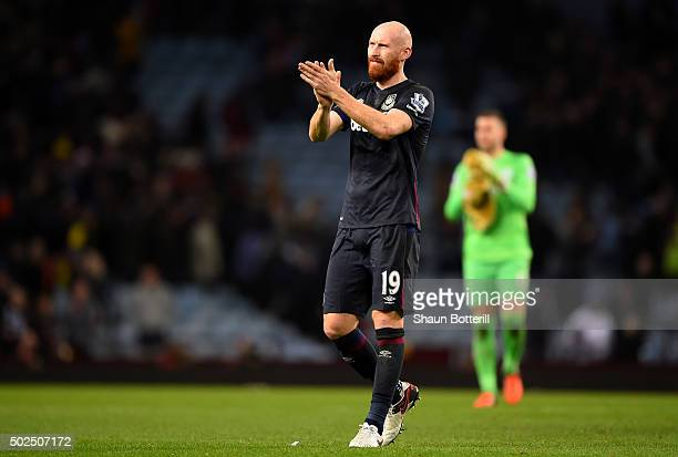 James Collins of West Ham United applauds the fans following the Barclays Premier League match between Aston Villa and West Ham United at Villa Park...