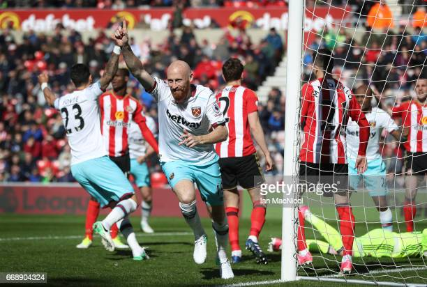 James Collins of West Ham United celebrates after he scores his sides second goal during the Premier League match between Sunderland and West Ham...