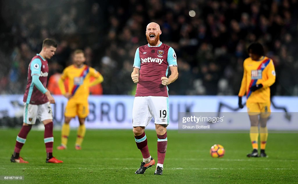 James Collins of West Ham United celebrates his sides goal during the Premier League match between West Ham United and Crystal Palace at London Stadium on January 14, 2017 in London, England.