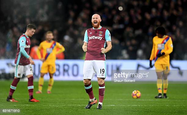 James Collins of West Ham United celebrates his sides goal during the Premier League match between West Ham United and Crystal Palace at London...