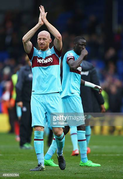 James Collins of West Ham United celebrates his team's 31 win in the Barclays Premier League match between Crystal Palace and West Ham United at...
