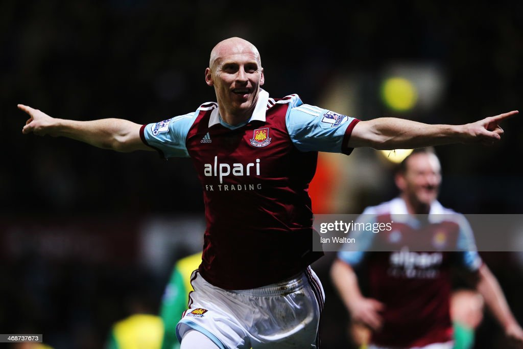 James Collins of West Ham United celebrates scoring during the Barclays Premier League match between West Ham United and Norwich City at the Boleyn Ground on February 11, 2014 in London, England.