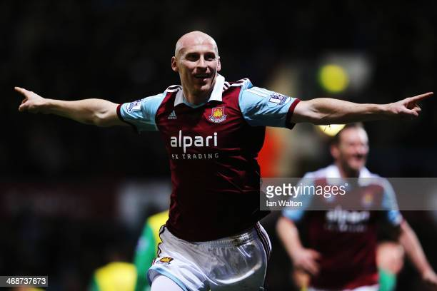 James Collins of West Ham United celebrates scoring during the Barclays Premier League match between West Ham United and Norwich City at the Boleyn...
