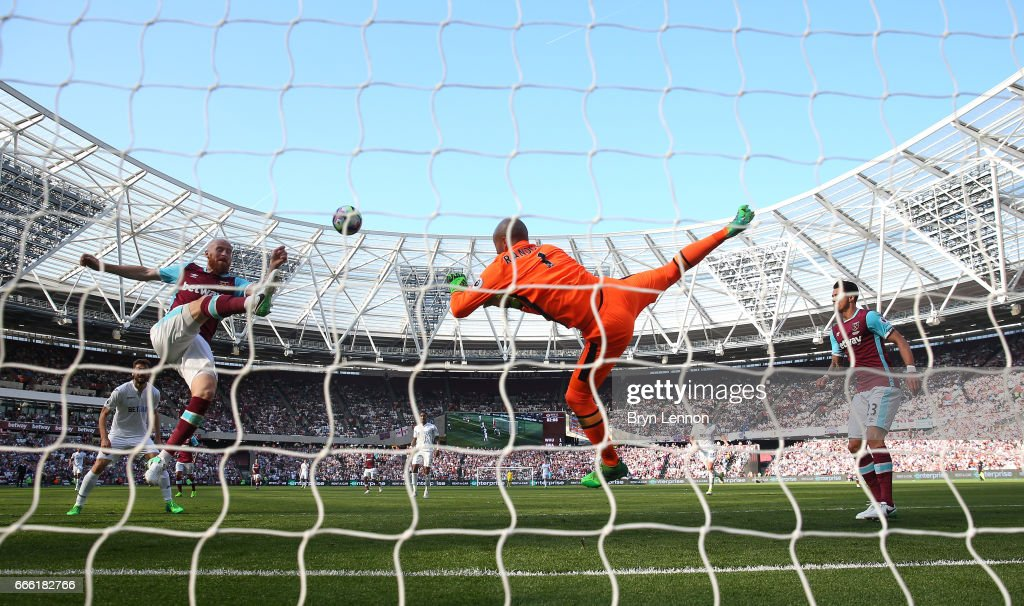 James Collins of West Ham United clears the ball during the Premier League match between West Ham United and Swansea City at London Stadium on April 8, 2017 in Stratford, England.