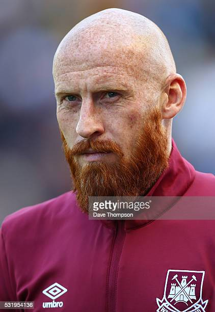 James Collins of West Ham United during the Barclays Premier League match between Stoke City and West Ham United at the Britannia Stadium on May 15...