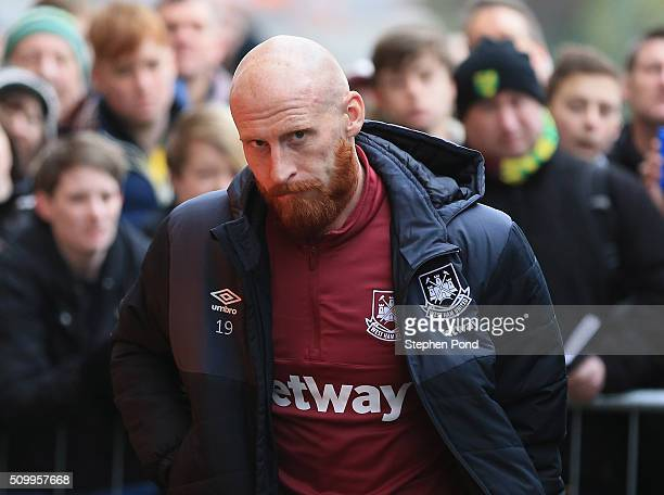 James Collins of West Ham United is seen on arrival at the stadium prior to the Barclays Premier League match between Norwich City and West Ham...