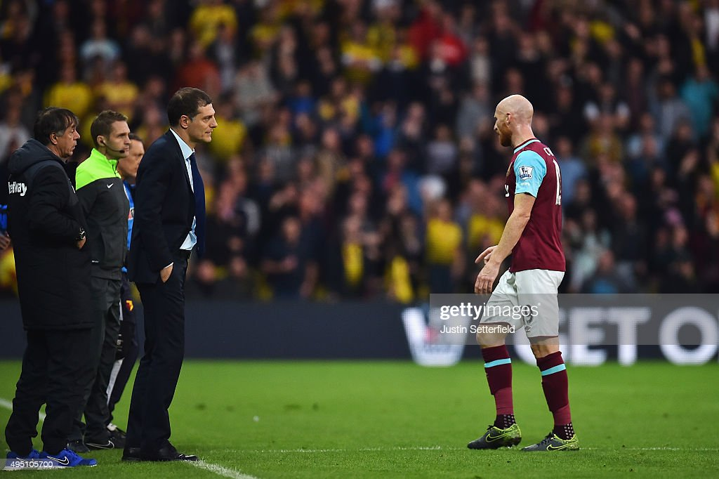 James Collins of West Ham United leaves the pitch after being shown a red card during the Barclays Premier League match between Watford and West Ham United at Vicarage Road on October 31, 2015 in Watford, England.