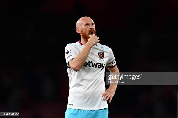 James Collins of West Ham United looks dejected during the Premier League match between Arsenal and West Ham United at the Emirates Stadium on April...
