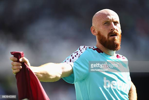 James Collins of West Ham United looks on prior to the Premier League match between West Ham United and AFC Bournemouth at London Stadium on August...
