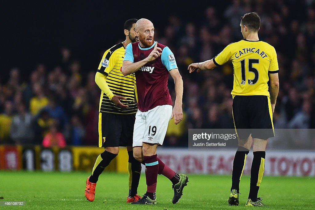 James Collins of West Ham United reacts after being shown a red card during the Barclays Premier League match between Watford and West Ham United at Vicarage Road on October 31, 2015 in Watford, England.