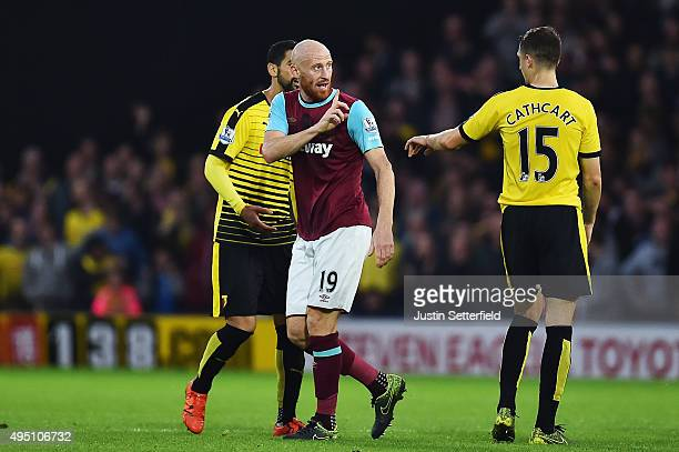 James Collins of West Ham United reacts after being shown a red card during the Barclays Premier League match between Watford and West Ham United at...
