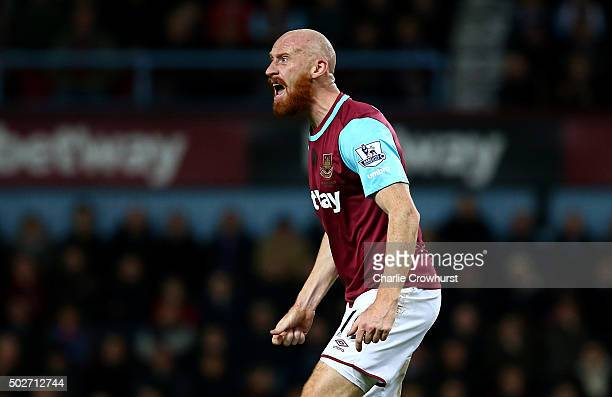 James Collins of West Ham United reacts during the Barclays Premier League match between West Ham United and Southampton at the Boleyn Ground on...