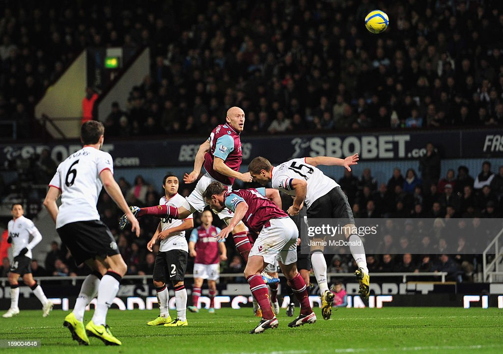 <a gi-track='captionPersonalityLinkClicked' href=/galleries/search?phrase=James+Collins+-+Welsh+Soccer+Player&family=editorial&specificpeople=15167252 ng-click='$event.stopPropagation()'>James Collins</a> of West Ham United scores his second goal during the FA Cup with Budweiser Third Round match between West Ham United and Manchester United at the Boleyn Ground on January 5, 2013 in London, England.