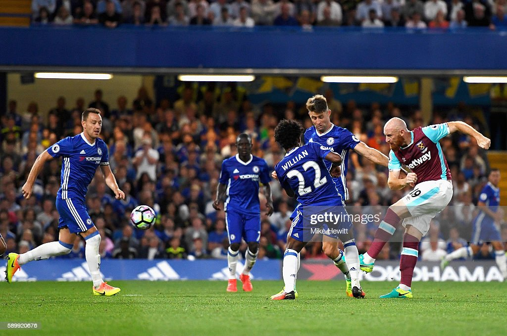 James Collins of West Ham United scores his team's opening goal during the Premier League match between Chelsea and West Ham United at Stamford Bridge on August 15, 2016 in London, England.