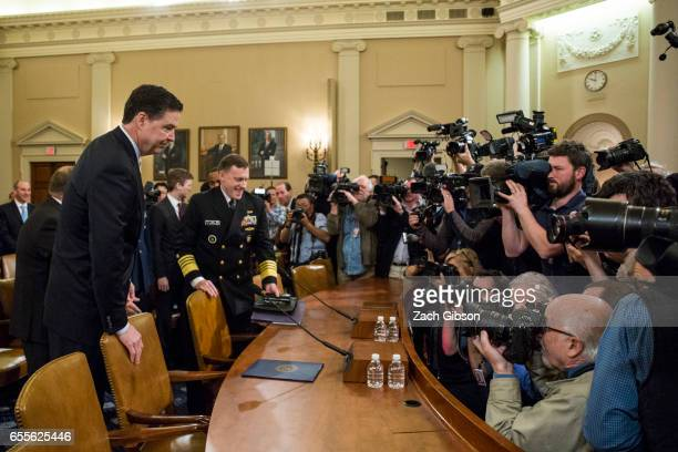 James Comey Director of the Federal Bureau of Investigation arrives at the start of a House Permanent Select Committee on Intelligence hearing...