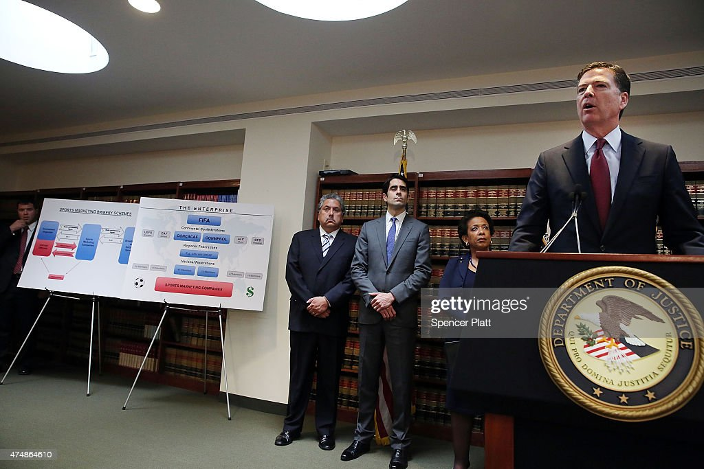 attorney general lynch and fbi director comey announce indictment of fifa officials getty images. Black Bedroom Furniture Sets. Home Design Ideas