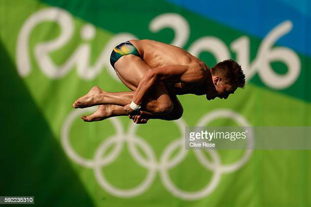 James Connor of Australia competes during the Diving Men's 10m Platform Preliminary on Day 14 of the Rio 2016 Olympic Games at the Maria Lenk...
