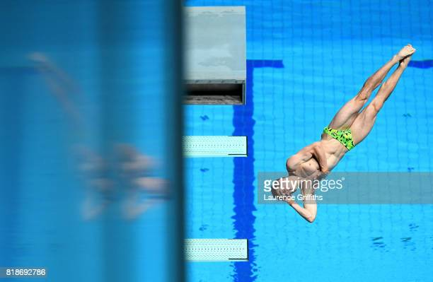 James Connor of Australia competes during the Men's 3m Springboard Preliminary Round on day six of the Budapest 2017 FINA World Championships on July...