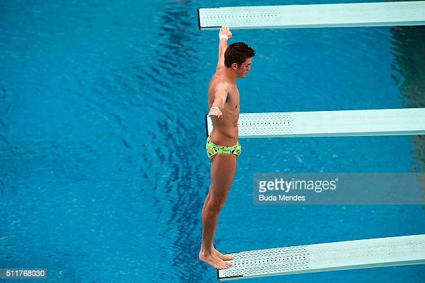 James Connor of Australia competes in the men's 3m springboard semifinal as part of the 2016 FINA Diving World Cup at Maria Lenk Aquatics Centre on...