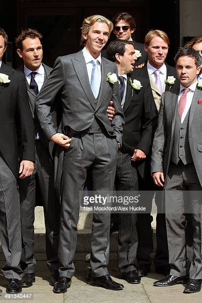 James Cook arriving at the wedding of Poppy Delevingne and James Cook on May 16 2014 in London England