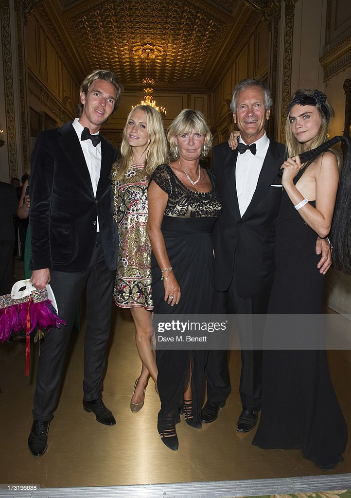 James Cook, Poppy Delevingne, Pandora Delevingne, Charles Delevingne and Cara Delevingne attend The Elephant Family presents 'The Animal Ball' at Lancaster House on July 9, 2013 in London, England.