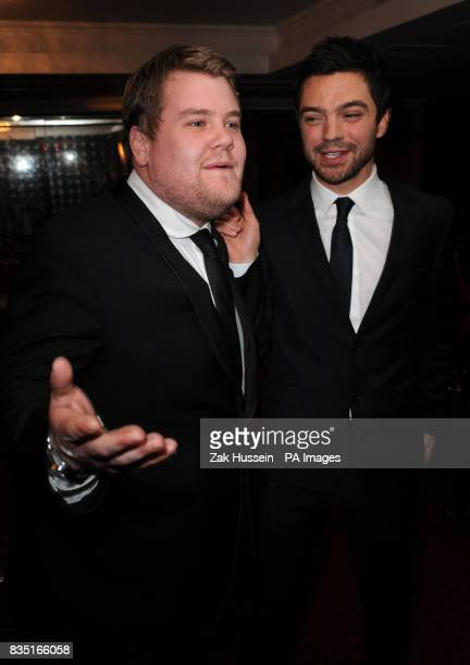 James Corden and Dominic Cooper arrive for the Laurence Olivier Awards at the Grosvenor Hotel in central London