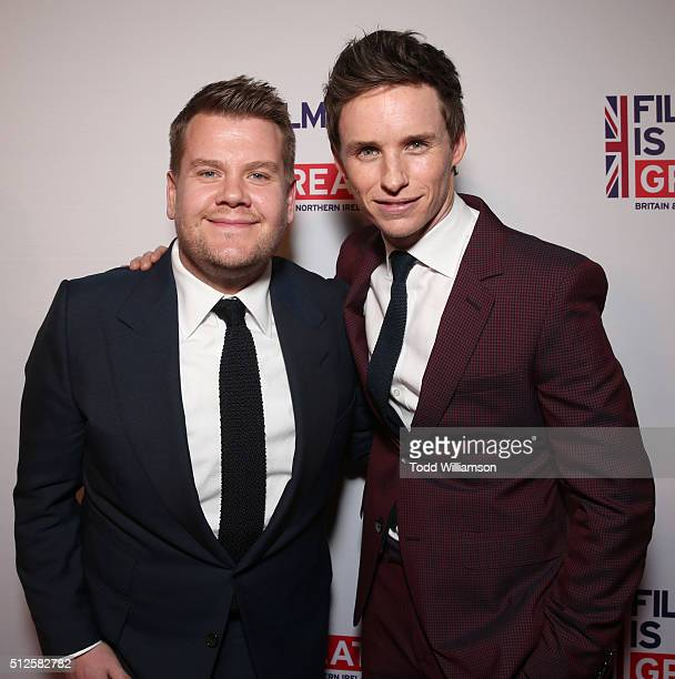 James Corden and Eddie Redmayne attend The Film Is GREAT Reception at Fig Olive on February 26 2016 in West Hollywood California