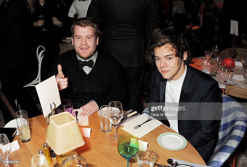 James Corden (L) and Harry Styles attend a private dinner hosted by Sir Paul Smith, Tinie Tempah and GQ editor Dylan Jones to celebrate London Collections: MEN AW13 at the Martin Creed Gallery Restaurant at Sketch on January 9, 2013 in London, England.