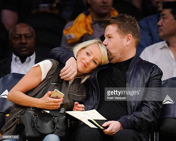 James Corden and his wife Julia Carey attend basketball game between the Portland Trail Blazers and the Los Angeles Lakers at Staples Center on...