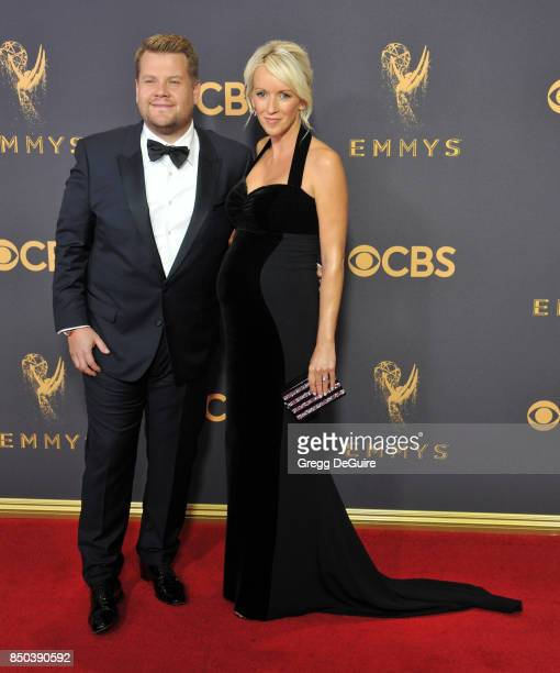 James Corden and Julia Carey arrive at the 69th Annual Primetime Emmy Awards at Microsoft Theater on September 17 2017 in Los Angeles California