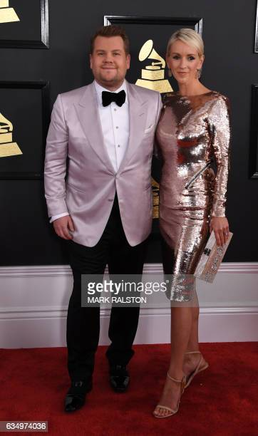 James Corden and Julia Carey arrives for the 59th Grammy Awards on February 12 in Los Angeles California / AFP / Mark RALSTON