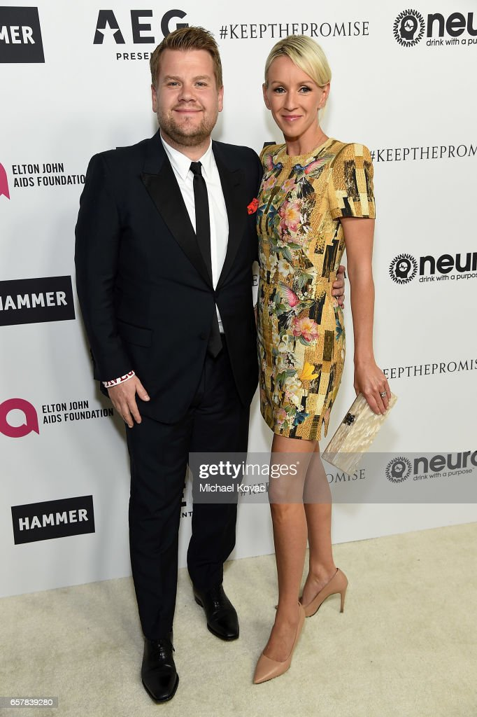James Corden (L) and Julia Carey celebrate Elton John's 70th Birthday and 50-Year Songwriting Partnership with Bernie Taupin benefiting the Elton John AIDS Foundation and the UCLA Hammer Museum at RED Studios Hollywood on March 25, 2017 in Los Angeles, California.